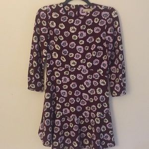 Loft Maroon Floral Dress - Size 2